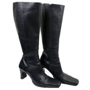 Diba Tall Black Leather Heeled Boots Size 6.5M